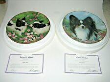 2 Danbury Mint Tamar Burnett Butterfly Kisses & Windy Wishes Papillon Dog Plates