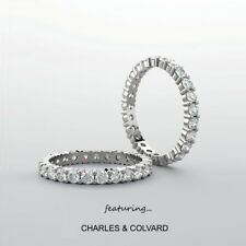 14K Gold 2.00 Carat Moissanite Forever One Eternity Ring - Charles & Colvard