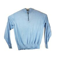 Peter Millar Crown Soft Mens XL Blue 1/4 Zip Cotton Silk Mock Neck Sweater