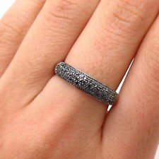 925 Sterling Silver Real Black Diamond Ring Size 7