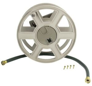Suncast Sidewinder 100 Foot Wall Mount Garden Yard Outdoor Hose Reel, Taupe