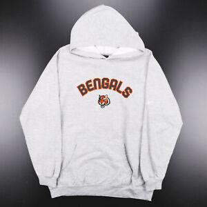 REEBOK NFL Cincinnati Bengals Grey Sports Pullover Hoodie Boys XL
