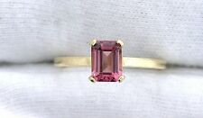 14Kt REAL Yellow Gold 7x5 Emerald AAA Pink Tourmaline Gemstone Gem Ring Size 7.5