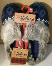 Deluxe Dearfoam Slippers  Medium 7/8 Womens Faux Fur Memory Foam Blue & Gray NWT
