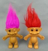 Vintage Russ 2pc Lot Pink and Red Hair Trolls