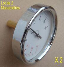 Lot de 2 Manomètre Température 50° + Sonde,Filetage 15/21 en Laiton,,Ø 80 mm