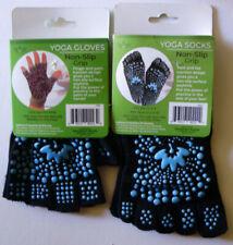 Momemtum Yoga Gloves and Socks Fit M 4-9 W 5-10 Non-Slip Grip Blue & Black Nip