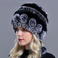 Fashion Winter Hats Fur Real Rex Rabbit Cap Women Knitted Balls Skulls Beanies
