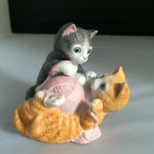 Vintage San Francisco Music Box Co 2 Kittens Playing With Yarn, Figurine, Music