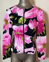 Joseph Ribkoff Women's Pink Black Floral Zip Jacket 4 Blazer Short