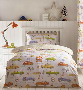 Kids Club - Multicolour Children's Cars Vehicles Duvet Cover Bed Set OR Curtains