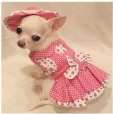 4 pc harness/Strawberry Patch DRESS SET/DOG CLOTHES/DOG DRESS/SIZE xs,s,m or l