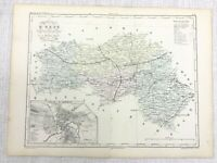 1853 Antique French Map ALENCON  Orne NORMANDY France Hand Coloured Engraving