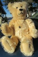 "VINTAGE MOHAIR TEDDY BEAR WHITE ARTIST OOAK JANET REEVES 13"" W LOCKET NECKLACE"