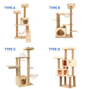 Wooden Cat Tree Cat Scratching Post Modern Cat Condo Furniture w/ Natural Sisal