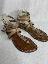 c9297d5e82b5 Sam Edelman Genevieve Gladiator Sandals Flats Zip Back Leather Size 9.5 NEW