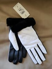 NEW WOMENS L / XL BLACK & WHITE UGG QUILTED NYLON SMART GLOVES SHEARLING CUFF