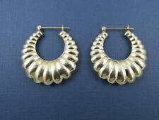 14k Solid Yellow Gold Classic Scalloped Design Earrings Snap Bar Closure