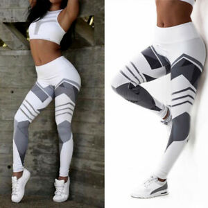 Women High Waist Yoga Leggings Gym Push-Up Pants Stretch Sports Trousers Fitness