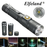 Elfeland 10000LM T6 LED Tactical Zoomable Flashlight Torch Lamp Light 3 Modes