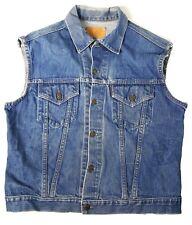 VTG Levis 70's Big E Denim Vest Sz L Type III Dual Pockets Cotton Blue