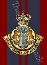 LEICESTERSHIRE & DERBYSHIRE YEOMANRY BADGE PRINTED ON A METAL SIGN 5 X 7 INCHES