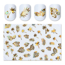 1Sheet Leaf Tree 3D Nail Stickers Gold Decal Nail Art Manicure Polish Gel Decor