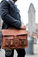 """18"""" Vintage Briefcase  Messenger Bag Shoulder Men New Satchel Soft Leather Lapto"""