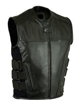 Motorcycle Bikers Leather SWAT Style Vest with Double Gun Pockets Inside