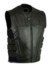 Men Leather Motorcycle Biker Vest Bullet Proof VEST With 2 GUN POCKETS NEW