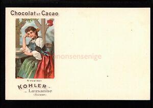 SWITZERLAND KOHLER LAUSANNE CHOCOLAT ET CACAO VIGNETTE POSTCARD E20C - SW108