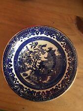 """Burleigh Ware Willow Burslem England  6 1/4"""" X 2"""" Bowls Blue Willow Gold Edge"""