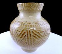 "STUDIO ART POTTERY SIGNED ISLAND POTTERY GEOMETRIC DESIGN TAN 5 7/8"" VASE"