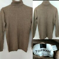 New TOPMAN Men's Knit Jumper Beige Brown Roll Neck Cotton Size XXS Chest 32-34""