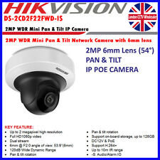 HIKVISION ds-2cd2f22fwd-is INDOOR Pan & Tilt 2MP 6mm LENS Onvif POE MINI TELECAMERA IP