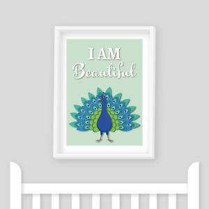 Nursery Prints - Peacock I am Beautiful Wall Art, Nursery Decor, Kids Room, Baby