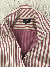BEN SHERMAN WOMENS SHIRT BUTTONS STRIPED TAILORED COTTON CREAM PINK SZ S