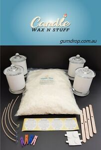 100%PURE SOY WAX CANDLE MAKING KIT + 4 JARS, WICKS, STICKUMS, WICK HOLDERS, PEGS
