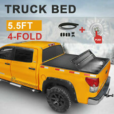 5.5FT Tonneau Cover Truck Bed For 2015-2020 Ford F150 w/Lamp 4 Fold
