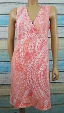 CALVIN KLEIN  Medium Pink And White Knee Length Cotton Blend Sun Dress