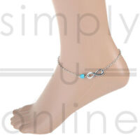 Turquoise Bead Infinity Ankle Bracelet Foot Silver Chain Anklet