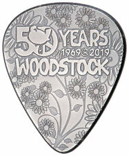 2019 Woodstock Guitar Pick Shaped 1/4 oz Silver Antiqued $2 BU Coin SKU58040