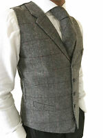 MENS WOOL BLEND TWEED TAILORED FIT GREY HERRINGBONE CHECK WAISTCOAT/VEST