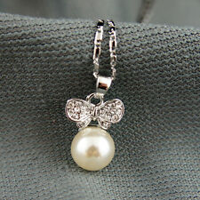 18k white Gold GF with Swarovski crystals pearl wing elegant pendant necklace