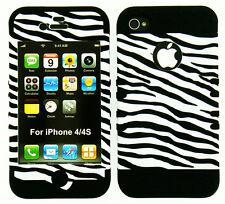Hybrid Impact Silicone Hard Cover + Apple iPhone 4 4S Black White Zebra on Black