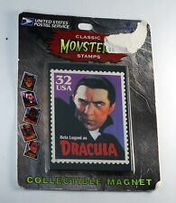 "USPS CLASSIC MONSTERS STAMPS ""DRACULA"" MAGNET MADE IN USA 1997 NEW ON CARD"