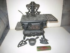 Genuine Vintage Toy Cast Iron Miniature Crescent Stove + Stove Polish Box & Acc.