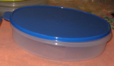 "Tupperware Pie Cookies Pizza Container 12"" Large Round Brilliant Blue Seal New"