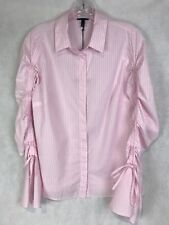 Who What Wear Women's Small Long Sleeve Drawstring Top Pink Stripe Charity NWT