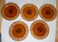 Rare VTG Set of 5 Honey Amber Royal Cauldon England Dickens Plates Transferware